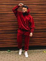Спортивный костюм ЗИМНИЙ мужской Boss оверсайз бордовый | Комплект теплый на флисе | Толстовка + Штаны