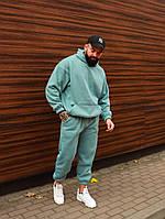 Спортивный костюм ЗИМНИЙ мужской Boss оверсайз sky | Комплект теплый на флисе | Толстовка + Штаны