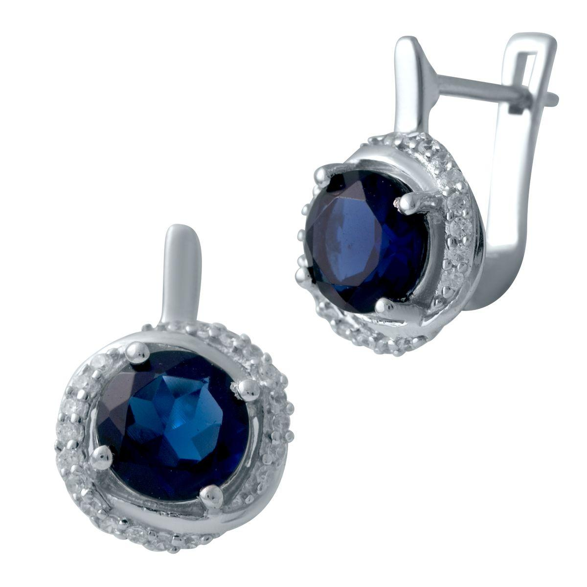 Серебряные серьги DreamJewelry с сапфиром nano 2.665ct (2029595)