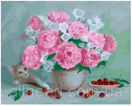 "Картина по номерам ""Пионы, вишни и котёнок"" Rainbow Art"