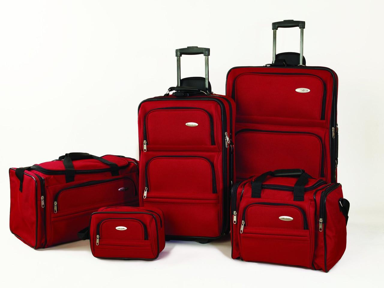 b503d545de6f Набор из 5 дорожных сумок Samsonite на колесах, красный, прочность 1200D !