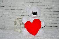 Плюшевый мишка DIZZY Бублик 55 см белый с сердцем 15 см
