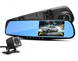 Видеорегистратор зеркало заднего вида 2 камеры DVR Full HD Черный