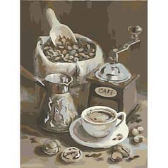 Картина по номерам раскраска по цифрам холст с контуром для взрослых 40х50см утренний кофе