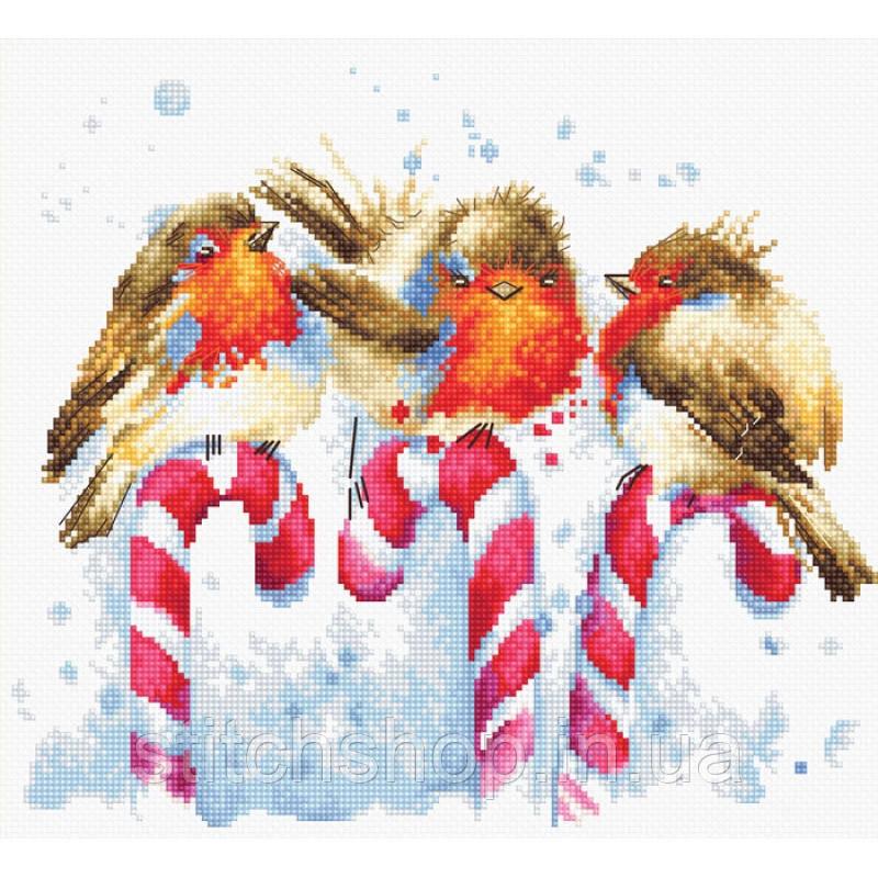B1154 Рождественские птицы. Luca-S. Набор для вышивки нитками