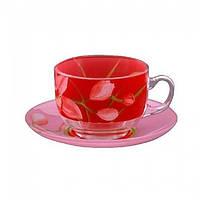 Набор чайный Luminarc Evolution Red orchis Fizz 220мл. 6шт, блюдца 140мм 6шт