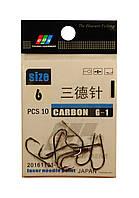 Крючок EOS Carbon G-1 size 6, 10 pcs