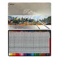 Цветные акварельные карандаши MARCO (Марко) Raffine 7120-36TN, Набор 36 цветов с кисточкой