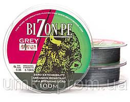 Шнур BIZON PE GREY 100m, 0,34mm