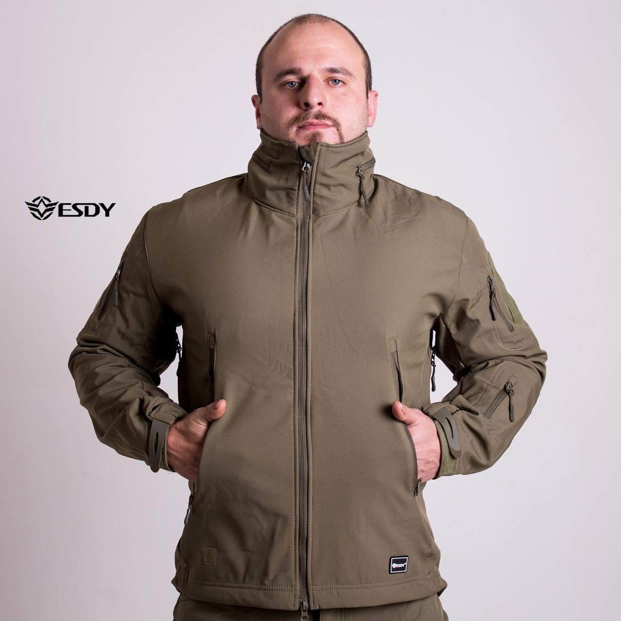 Тактическая Куртка Soft Shell ESDY TAC.-02 Olive непромокаемая 3XL