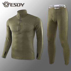 Термобілизна Чоловіча Флісова ESDY Pro Olive ( комплект термобілизни ), фото 2