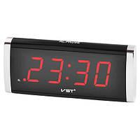 Часы сетевые настольные VST-730-1 красные, 220V