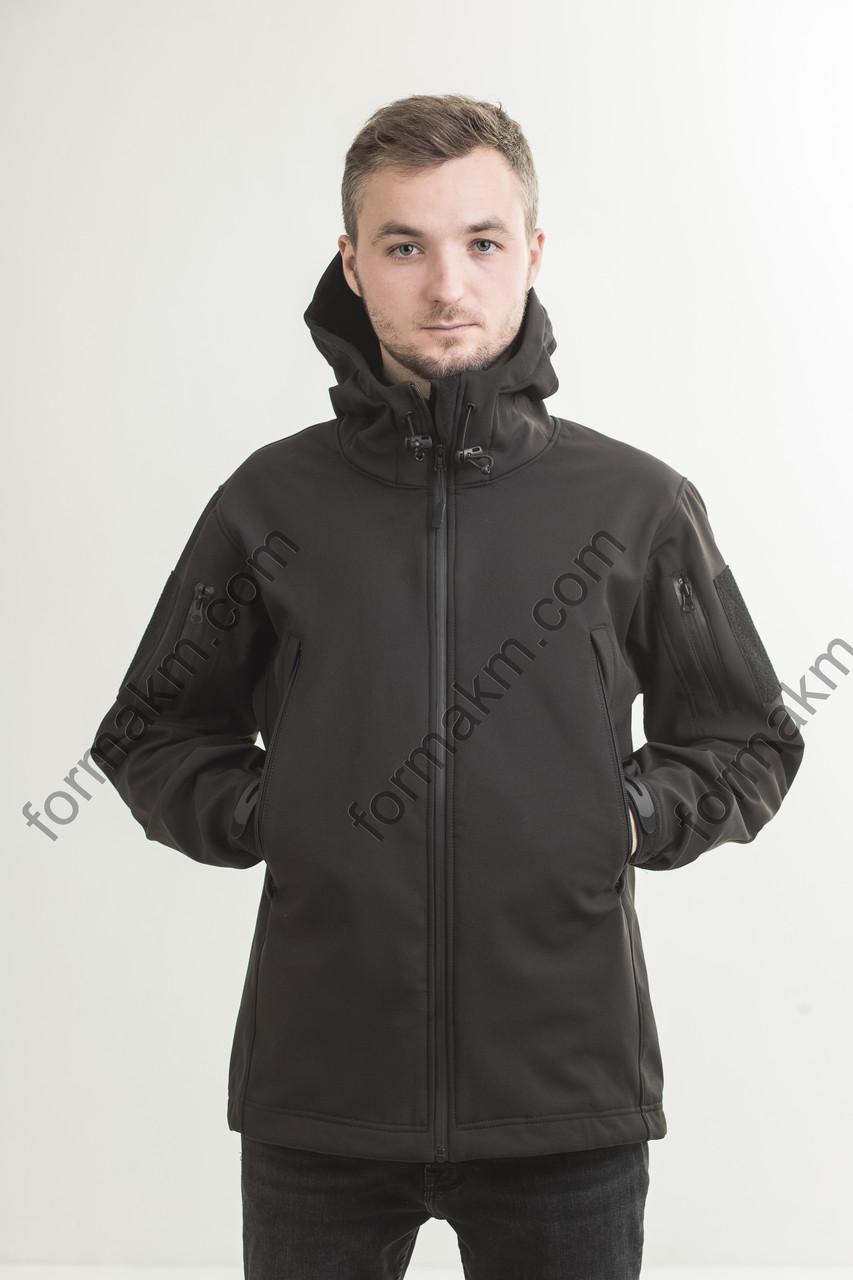 Куртка тактическая демисезонная  SoftShell чёрная