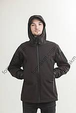 Куртка тактическая демисезонная  SoftShell чёрная, фото 3