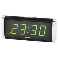 Часы сетевые настольные VST-730-2 зеленые, 220V