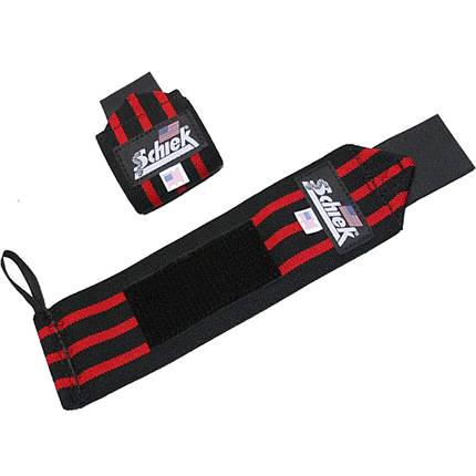 Кистевые бинты на запястья SCHIEK Line Wrist Wraps 1124 60 см (пара) черный\ красный, фото 2