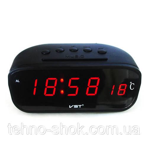 Часы сетевые настольные VST-803-1 красные, температура, 220V