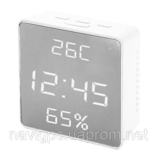 Годинник мережеві VST-887Y-6, білі, температура, вологість, USB