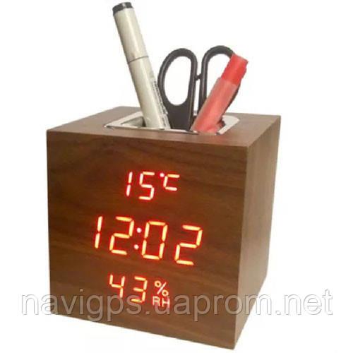 Часы сетевые VST-878S-1, красные, температура, влажность, USB