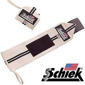 Кистьові бинти на зап'ястя SCHIEK Line Wrist Wraps 1112 30см пара білий\ чорний