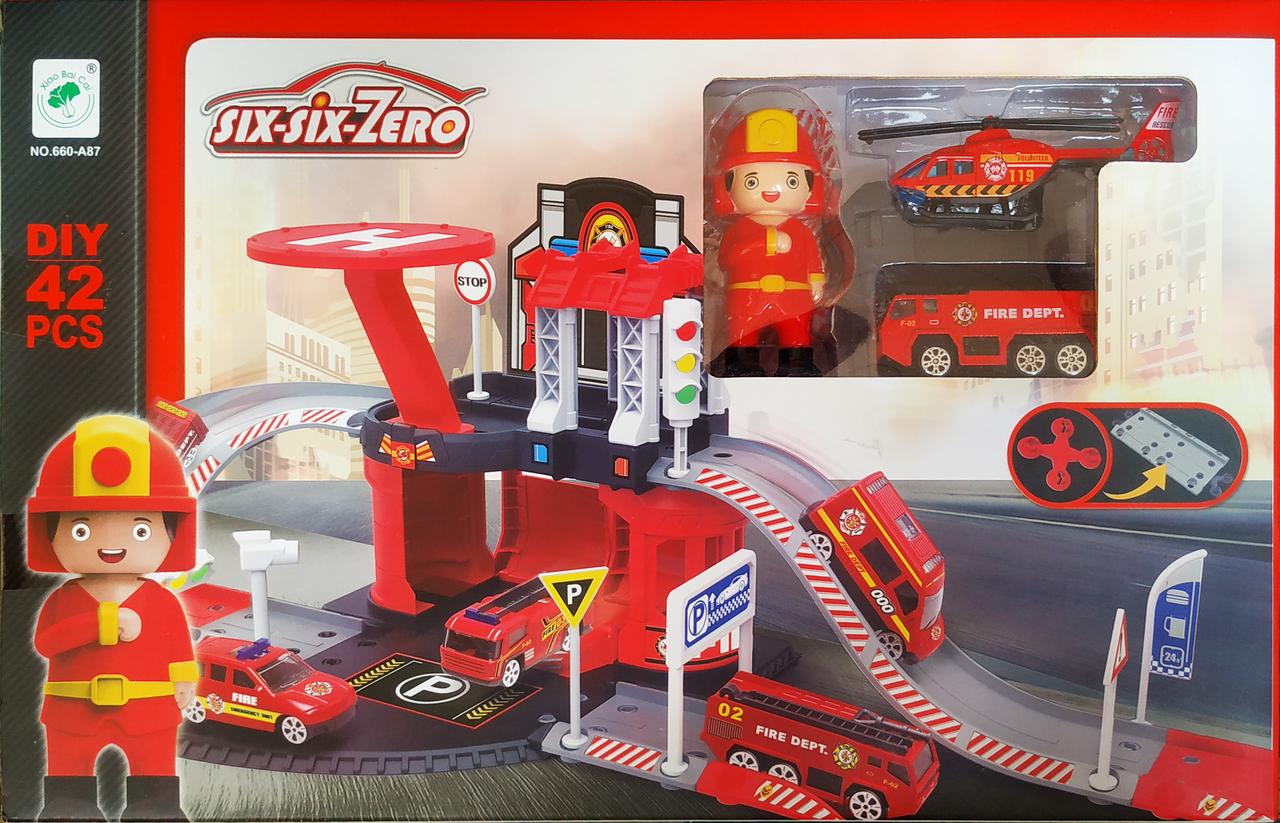 """Детский гараж / паркинг """"пожарная станция six-six-Zero"""" вид 2"""
