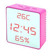 Часы сетевые настольные VST 887Y-1, розовые, температура, влажность, USB