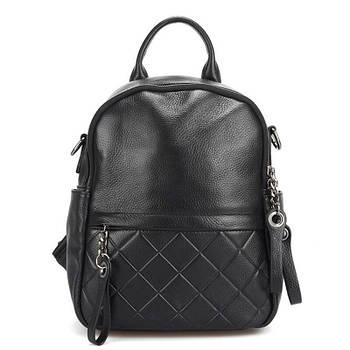 Рюкзак сумка міський жіночий шкіряний. Рюкзак трансформер з натуральної шкіри (чорний)