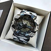 Спортивные наручные часы Casio G-Shock ga-110 серебристые с черным, хаки - код 0505
