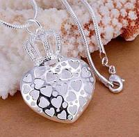 Посеребрённый ажурный кулон Сердце с короной, фото 1