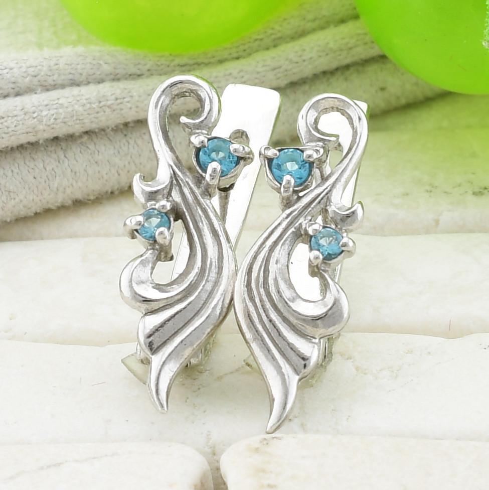 Серебряные серьги Мелания размер 15х5 мм голубые фианиты вес 2.55 г