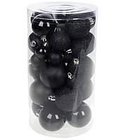 Черные елочные шары 40 шт, микс размеров