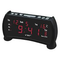 Часы сетевые настольные VST-761WX-1, красные, температура, 220V