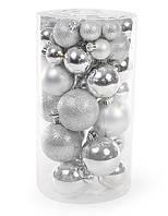Серебряные елочные шары 40 шт, микс размеров