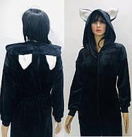Кигуруми из махры черного цвета с белыми ушами на капюшоне 42-50 р