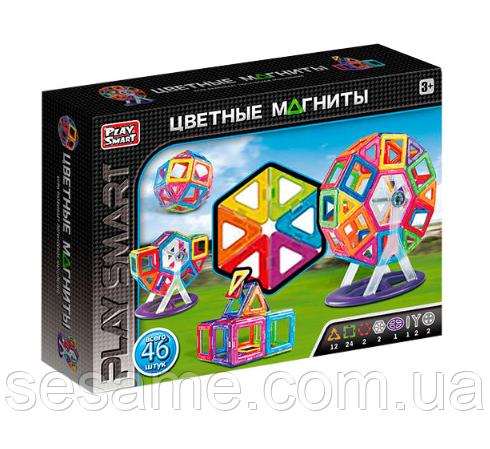Цветные магниты Play Smart 2430 Конструктор магнитный 46 деталей