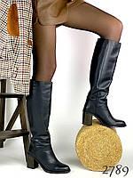 Женские кожаные сапоги на каблуке демисезон, сапожки женские 37,40 размер