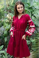 Стильне ошатне молодіжне плаття-вишиванка в українському стилі вишневий+корал