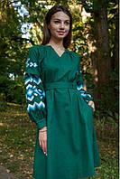 Чарівне молодіжне плаття-вишиванка в українському стилі т. зелений+синій