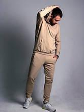 Мужской спортивный костюм бежевого цвета с капюшоном (худи и штаны)