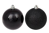 Набір чорних ялинкових куль 12 шт *8см, мікс, фото 1