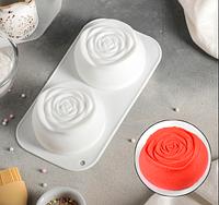 Роза двойная Форма для евродесертов силикон для выпечки