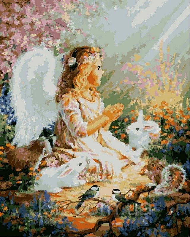 Картина по номерам Babylon Девочка ангелок и лесные зверьки VP385 40 х 50 см