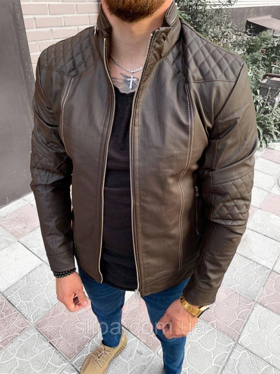 Чоловіча шкіряна куртка темно-коричнева ( фліс )