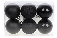 Набор елочных шаров 6шт *6см черные, фото 1