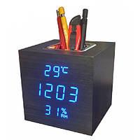 Часы сетевые настольные VST-878S-5, синие, температура, влажность, USB