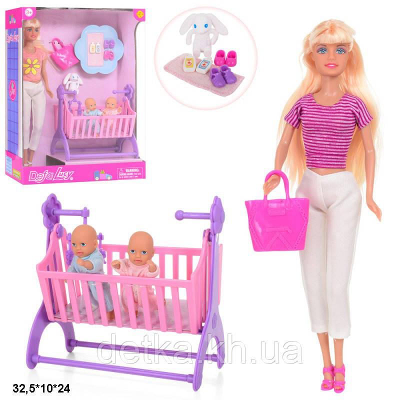 Лялька DEFA 29 см 8359 з дітьми ліжечком та аксес
