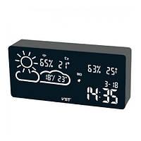 Часы сетевые настольные VST-882-6, белые, температура, влажность, WI-FI, USB