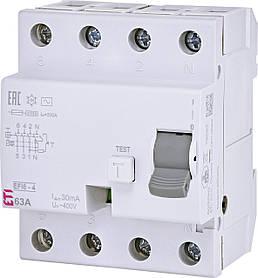 Диф. реле ETI EFI6-4 4p 63A 30mA 6kA 2062139