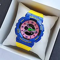 Детские спортивные наручные часы Casio baby-g ba-110 синие с желтым ремешком - 0234, фото 1