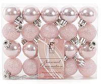 Розовые елочные шары 20шт *3см, набор микс, фото 1